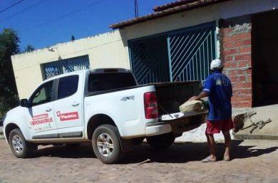 DENÚNCIA: Carro de uso exclusivo para combate do COVID-19 é flagrado em residência descarregando cimento em Santo Antônio de Lisboa