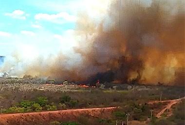 Fogo ameaça casas e reserva ambiental há dois dias em Palmeira do Piauí