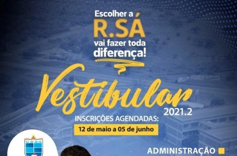 Inscrições para o Vestibular 2021.2 da Faculdade R.Sá começam amanhã (12)